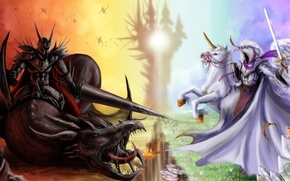 Picture fiction, horse, welcome, dragon, angel, sword, armor, the demon, art, evil