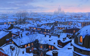 Picture winter, snow, the city, home, the evening, roof, Saint Petersburg, Cathedral, painting, cathedral, winter, snow, …