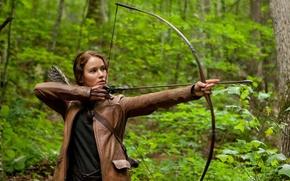 Picture brunette, bow, the hunger games, Jennifer Lawrence