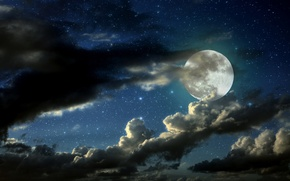 Picture night, full moon, Clouded moon