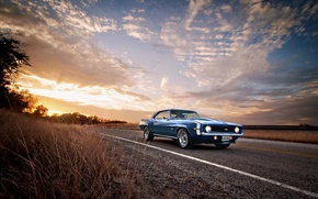 Picture road, 1969, Camaro, Classic, chevrolet, blue, American, Muscle heaven