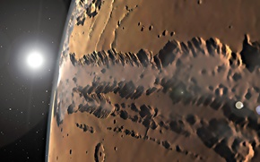 Picture surface, Mars, a system of canyons, Valles Marineris