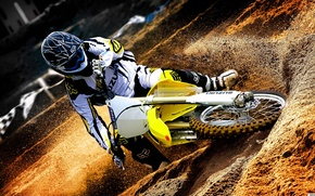 Picture sand, Wallpaper, sport, dirt, wheel, costume, motorcycle, helmet, motocross, Suzuki, Suzuki, motocross, Suzuki Rm Z450