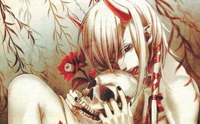 Picture language, flower, skull, the demon, horns, red eyes, art, yone kazuki, youkai