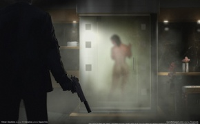 Picture gun, weapons, Girl, Shower, Costume, gloves, Naked, muffler, Agent 47, Silver baller, Hitman: Absolution, forty-seventh, …