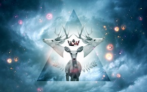 Picture the sky, stars, Paradise, deer, crown, figure