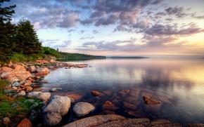 Wallpaper clouds, lake, Shore, stones