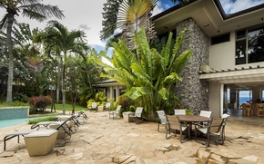 Picture pool, garden, home, luxury, hawaii, palm, maui