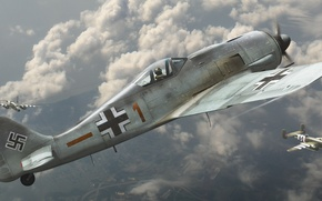 Picture aviation, fighter, bomber, American, The second world war, German, Fw 190, Focke-Wulf, Dogfight, B-25