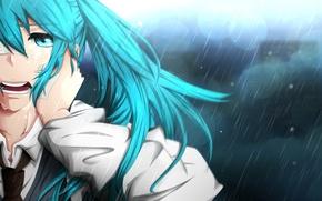 Picture Anime, Hatsune Miku, Vocaloid, rain.
