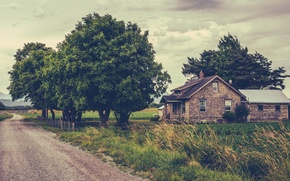 Picture road, grass, clouds, trees, mountains, house, field, the bushes, farm