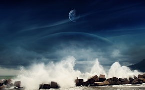 Wallpaper sea, stones, the moon, water, Dreamy World