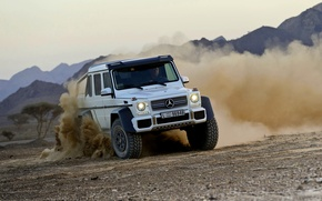 Picture Mercedes-Benz, Dust, White, Skid, Jeep, AMG, G63, The front, 6x6