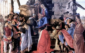 Picture Florence, Sandro Botticelli, the great Italian painter, Sandro Botticelli, tempera, 1475, The adoration of the ...