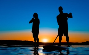 Picture water, landscape, sunset, people, silhouette, glow