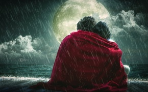 Wallpaper rain, the moon, romance, feelings, blanket, lovers
