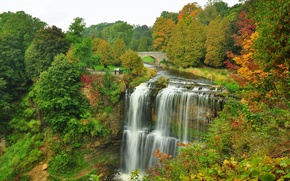 Picture autumn, forest, trees, bridge, Park, river, waterfall
