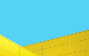 Picture Blue, Wallpaper, Yellow, Original, Stock, Minimalistic