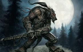 Picture The moon, Warrior, Moon, World of Warcraft, Worgen, Worgen