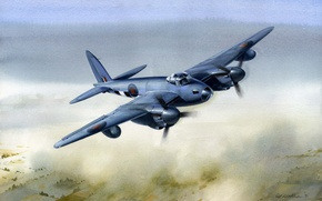 Picture war, art, painting, drawing, ww2, british airplane, de havilland mosquito