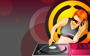 Picture circles, vector, DJ, turntables