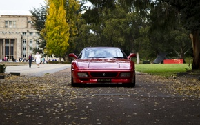 Picture autumn, leaves, people, building, day, before, Ferrari, red, Ferrari, red, old, old, old school, 348, …