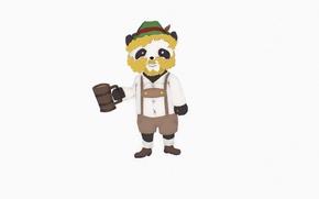 Picture figure, beer, hat, Panda, mug, beard, smile, Panda, LeeR, Bavarian