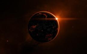 Wallpaper planet, stars, fire