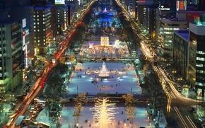 Picture night, lights, holiday, Japan, New Year, Sapporo, Odori Park, the island of Hokkaido