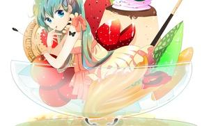 Picture girl, butterfly, anime, tattoo, strawberry, art, ice cream, fruit, Hatsune Miku, Vocaloid, Vocaloid, cookie, cherries, …