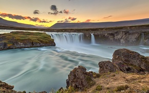 Picture the sky, clouds, sunset, river, rocks, waterfall, Iceland