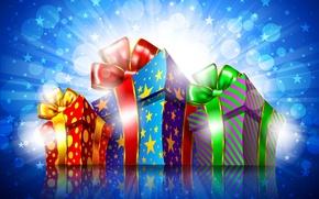 Wallpaper bokeh, gifts, holiday, tape