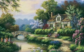 Picture house, river, picture, garden, painting, painting, Sung Kim
