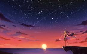 Picture the sky, girl, the sun, stars, clouds, sunset, seagulls, anime, art, vocaloid, hatsune miku, kyuri