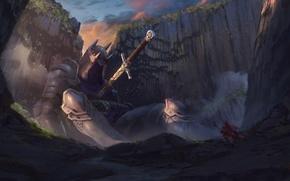 Wallpaper rocks, people, sword, armor, art, knight