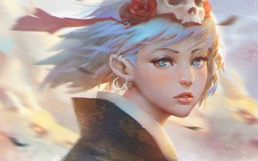 Picture look, face, the wind, elf, skull, piercing, girl, kimono, ears, blue hair, art, Guweiz