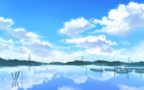 Picture river, boats, cloudy sky