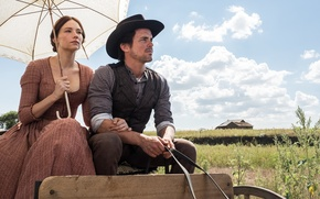 Picture field, the sky, clouds, house, frame, hat, umbrella, dress, wagon, cowboy, Western, Haley Bennett, The …