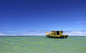 Picture sea, clouds, boat, horizon, Brazil, blue sky, beach mirror, Trancoso