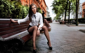 Picture look, girl, trees, face, the city, street, model, tile, skirt, portrait, shoes, blouse, heels, tights, …