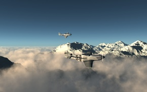 Wallpaper clouds, tops, pair, flight, Mustangs