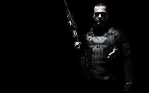 Picture weapons, Ray Stevenson, Ray Stevenson, Punisher: War Zone, Punisher: war zone, black background, armor, gun