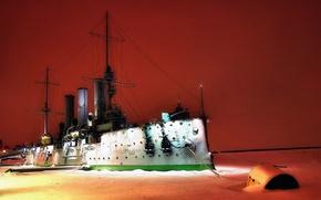 Picture Winter, Night, River, Ice, Ship, Aurora, Cruiser, Military, Armored cruiser