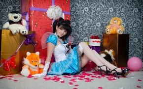 Picture smile, toys, stockings, doll, dress, brunette, hairstyle, gifts