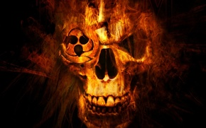 Picture background, fire, black, skull