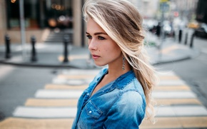 Picture look, girl, face, city, sweetheart, blonde, shirt, the beauty, Anastasia, young, street, beauty, nice, color, …