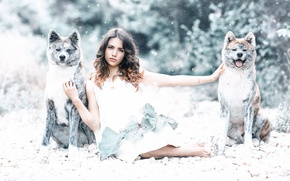 Picture dogs, girl, Alessandro Di Cicco, Protected by the wolves