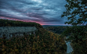 Picture forest, sunset, river, the evening, canyon, USA, State Park Lethworth