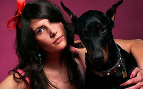 Picture Girl, and, Dogs, Animals, Doberman