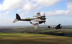 Picture art, night fighter, RAF, British multi-purpose bomber, De Havilland, Mosquito